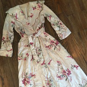 VTG 40s Satin Quilted Robe Floral Peignoir XS Glam
